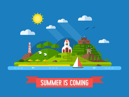 idyllic: Idyllic travel island landscape with green hills, beach, church, mill, fortress, lighthouse and sail boat. Summertime vacation background in flat design. Summer is coming concept vector illustration