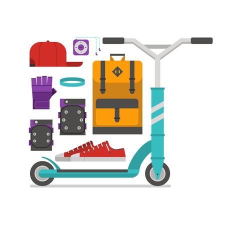 wristband: Roller scooter equipment set. Kickbike lifestyle elements. Balance bike wheel and scootering accessories. Protection, backpack, cap, boots, music player and wristband. City outdoor activity essentials