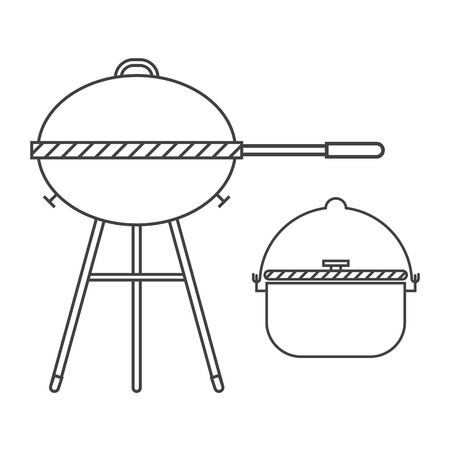 grilling: Barbecue grill and pot linear vector illustration. Tourist bowl and bbq outline pictogram in thin line design.