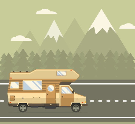 Road traveler truck driving on the road in mountain area. Rv auto travel vacation vector illustration. RV caravan motorhome van on countryside forest landscape. Family summer trip concept background. Illustration