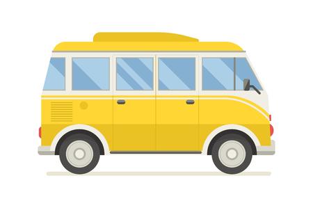 Uitstekende gele bus reizen. Camper cartoon van. Tourist coach in platte design met surfplank. RV zomer auto reiziger op een witte achtergrond.