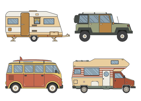 omnibus: RV travel auto set. Camping trailer family camper collection in line art design. Traveler trucks outline car pictograms. Tourist bus, SUV, minivan and caravan single line icons.