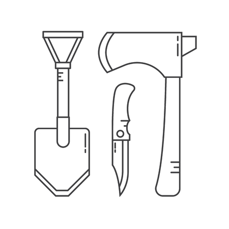 hatchet: Shovel, hatchet axe and tourist knife vector icon isolated on white background. Camping and hiking tools in flat design.