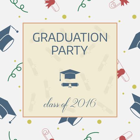 graduation party: Vector illustration of colorful graduation party invitation.