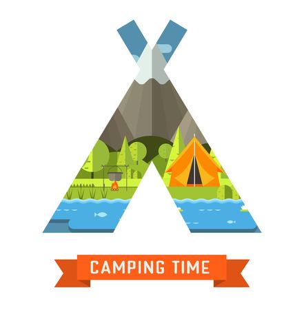 campsite: Mountain lake campsite place in tourist tent shape.