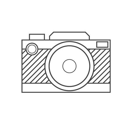 dslr: Retro DSLR camera in thin line design isolated on white background.