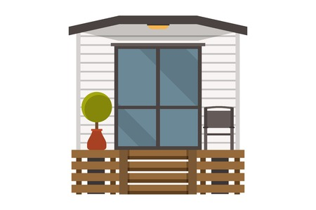 Minimalistic summer house. Illustration