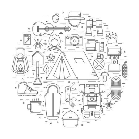 캠핑 선형 벡터 아이콘 개념입니다. 얇은 라인 디자인으로 하이킹 야외 요소. 캠프 및 하이킹 장비 개요 컬렉션. 쌍안경, 그릇, 바베큐, 보트, 랜턴, 신