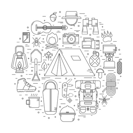 Camping linear vector icons concept. Hiking outdoor elements in thin line design. Camp and hike gear outline collection. Binoculars, bowl, barbecue, boat, lantern, shoes, hat, tent appliances. Stock Vector - 57181243