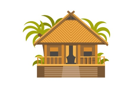 suite: Summer house. Wooden villa suite with green palms.
