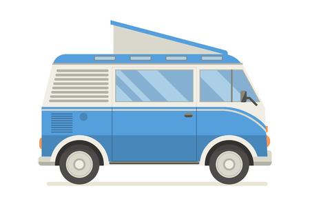 omnibus: Vintage blue travel bus. Camper cartoon van. Illustration