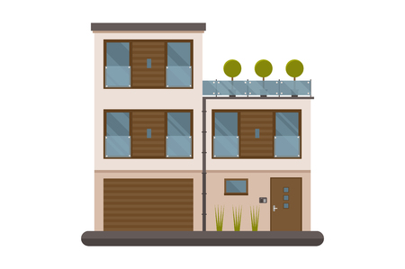 storied: Scandinavian design apartment for rent or living isolated on white background. City two-storied house vector illustration. Europe modern home. Bauhaus architecture family building.