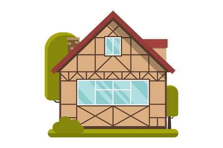 timbered: Half-timbered cottage. Illustration