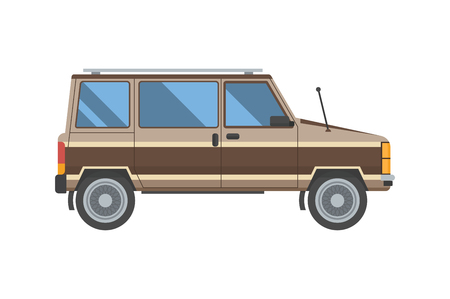 minivan: Adventure car in flat design. Old minivan for travel. Vector voyage auto in retro colors isolated on white background. Illustration