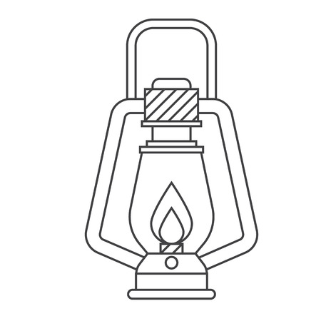 lamp outline: Camping lantern vector outline icon. Single tourist lamp in thin line design isolated on white background. Hiking light lineart pictogram for website and internet.