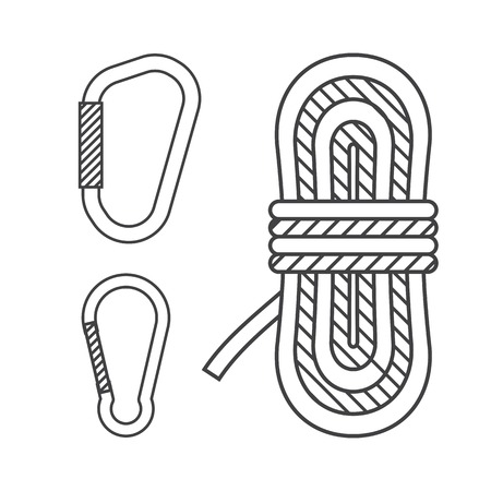 mountaineering: Mountaineering vector outline icons. Climbing rope and carabiners in thin line design. Alpinism equipment collection isolated on white background Illustration