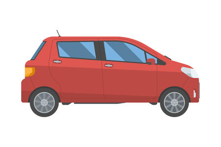 4wd: Modern red car in flat design. New hatchback for rent and travel. Vector voyage auto in retro colors isolated on white background. Illustration
