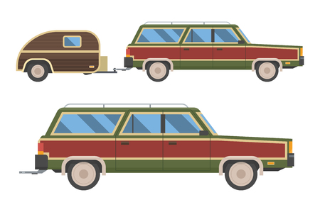 Voyage retro car isolated on white background. Travel retro automobile with trailer. Summer auto trip Rv transport. Old station wagon with trailer hindcarriage.