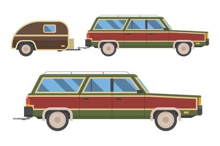 Voyage retrò auto isolato su sfondo bianco. Viaggia retrò automobili con rimorchio. Estate viaggio auto trasporti Rv. Old station wagon con il rimorchio hindcarriage. Archivio Fotografico - 57190879