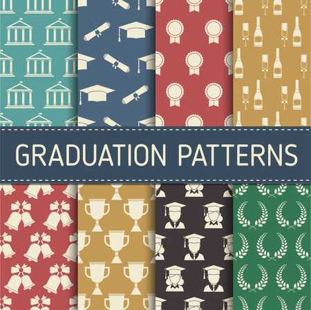 tossing: Seamless vector background of tossing graduation caps, wreath, diplomas, trophy cup and bell pattern. Education celebration symbols on repeating cells. Graduation pattern collection in vintage colors. Illustration