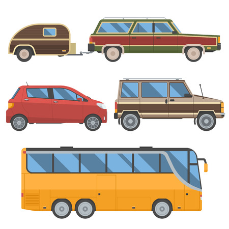 omnibus: Voyage cars set. Travel automobile collection in retro colors. Summer auto trip transport. Vector autobus, hatchback, retro minivan and old station wagon with trailer hindcarriage.