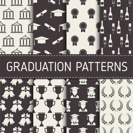 졸업 패턴 컬렉션. 졸업 남자와 여자, 모자, 트로피, 샴페인, 벨, 화 환, 인감 및 대학 건물 요소를 설정하는 졸업 원활한 배경.