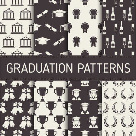 Graduation pattern collection. Graduational seamless background set with graduate man and woman, hat, trophy, champagne,bell, wreath, seal and college building elements.