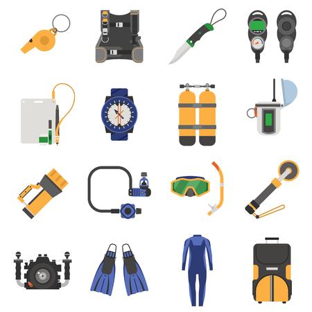 scuba diving: Scuba diving equipment icon set.