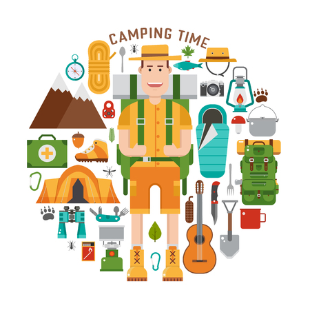 backpacking: Camping gear set. Backpacking element set.