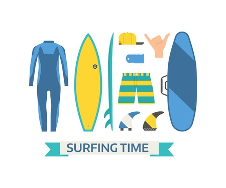 wetsuit: Surfing time elements and gear set. Summer surfer equipment. Surfboard, wetsuit, board bag, shaka sign, wax, cap and fins. Water activity lifestyle concept objects.