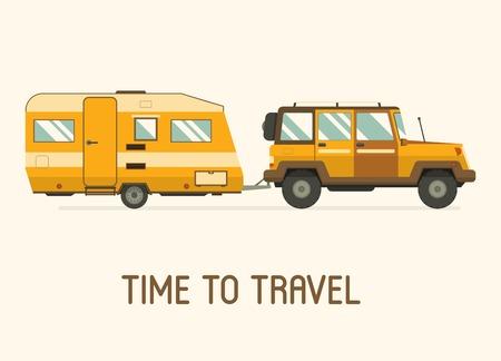 도로 여행 트레일러 및 SUV 운전.