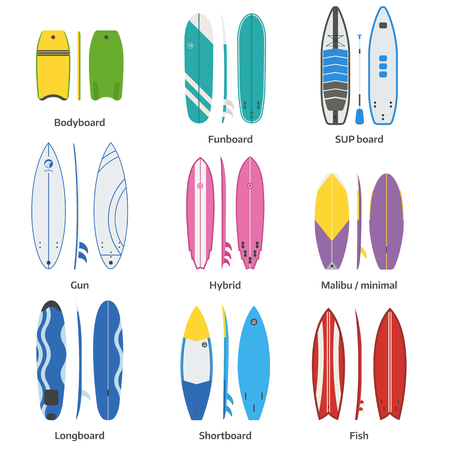 streamlined: Different surfboard collection. Vector various surf desk in flat design. Surfing desks and boards set. Various colors and styles. Surfdesks isolated on white background. Shortboard, longboard and more Illustration