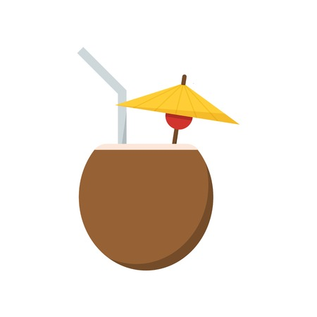 coco: Tropical cocktail in coconut. Summer beverage in coco with tubule and umbrella. Beach drink vector icon isolated on white background.