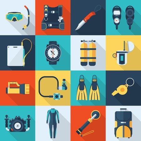 dive: Dive gear icon set. Scuba equipment vector square icons. Diving and snorkeling kit.