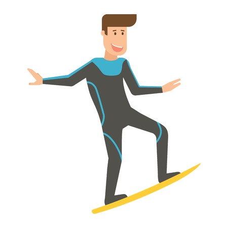 wetsuit: Happy surfer with wetsuit in riding pose in flat design.