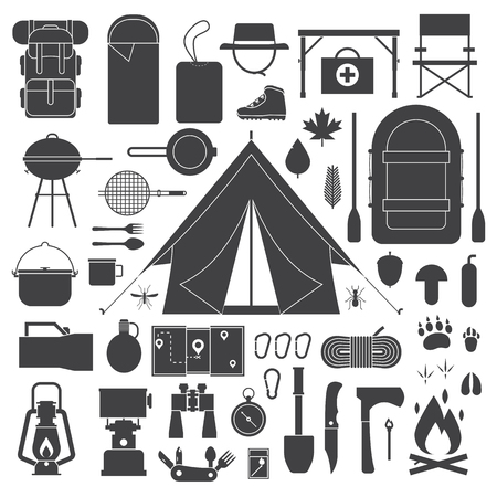 Camping vector outline icons collection. Hiking outdoor elements kit. Camp and hike gear icon set. Binoculars, bowl, barbecue, boat, lantern, shoes, hat, tent and other tourist tools and items.