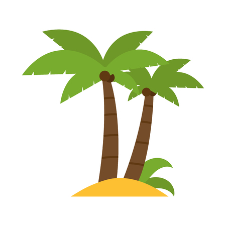 sandy: Group of green coconut palms on sandy ground. Illustration