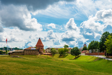 kaunas: Wide angle panoramic view on cloudy sky background in Kaunas, Lithuania Stock Photo