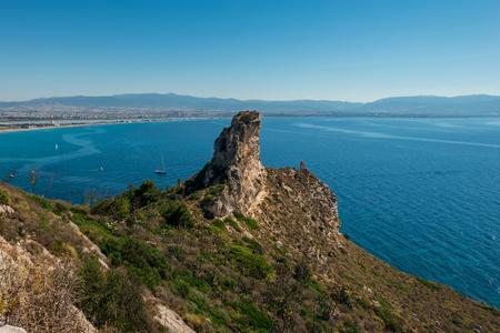 sella: The view on the Devils Saddle - La Sella del Diavolo - closed to Cagliari in Sardinia, Italy. Cagliari coastline panorama. Stock Photo