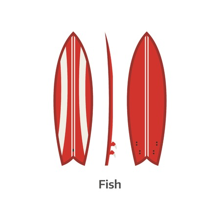 beach side: Fish surf board vector icon isolated on white background. Surfer fishboard illustration. Classic surfboard. Surfing desk red color image in flat design. Illustration