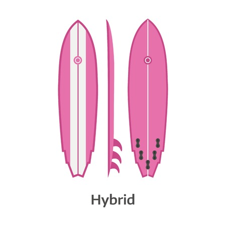 surf vector: Hybrid surfing board vector icon isolated on white background. Woman pink long surfboard illustration. Girl surf desk image in flat design. Illustration