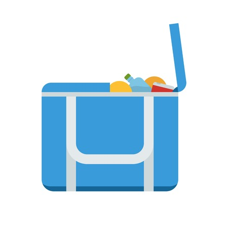 freezer: Portative beach freezer bag flat design icon. Picnic cooling lunch box vector illustration isolated on white background. Small freezer-bag in blue color with fruits and drinks.