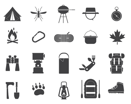 Camping icon collection. Hiking elements. Camp gear set. Binoculars, bowl, barbecue, boat, lantern, shoes, hat, tent. Outdoor activity equipment pictograms. Tourist hike outline vector icons isolated.