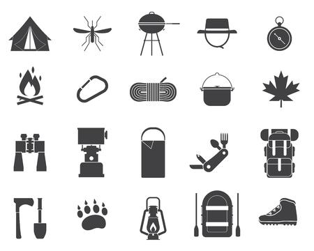 캠핑 아이콘 모음입니다. 하이킹 요소. 캠프 기어 세트입니다. 쌍안경, 그릇, 바베큐, 보트, 랜턴, 신발, 모자, 텐트. 야외 활동 장비 그림입니다. 관광