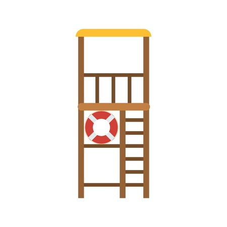 life guard: Life guard tower vector illustration. Swimming lifeguard spot with lifebuoy and steps. Beach safety building icon in flat design. Emergency pillar isolated on white background. Illustration