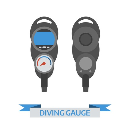 under control: Scuba diving gauge isolated on white background. Underwater pressure detector vector icon.