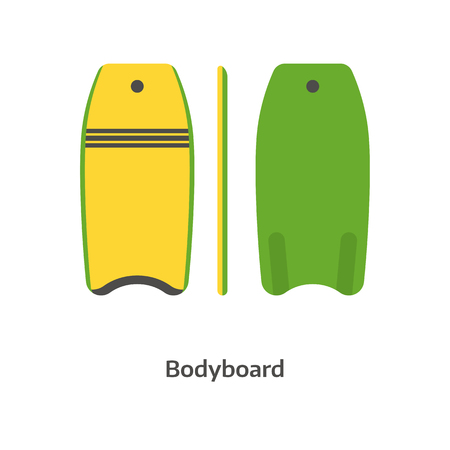 wave surfing: Bodyboard vector icon isolated on white background. Swimming body board illustration. Beginner surfboard. Surfing desk image.