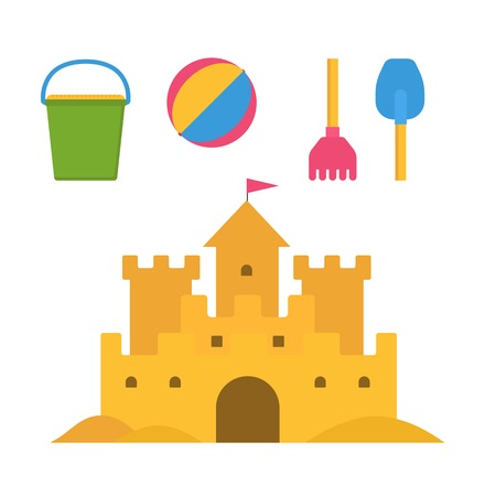 children sandcastle: Beach toys and sand castle vector illustration. Child pail, shovel, ball and rake colorful icons. Children summer games and activities in flat design. Cartoon sandcastle image. Illustration