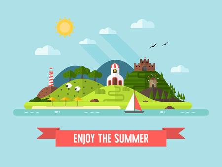 green hills: Summer island landscape. Outdoor. Travel time vector background in flat design. Summertime illustration. Tourist landmarks, nature, beach and green hills.