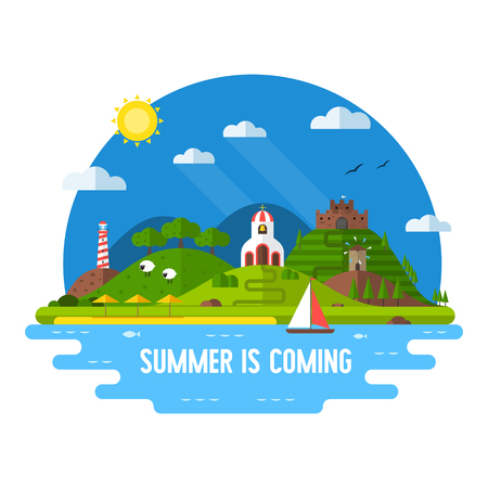 idyllic: Idyllic travel scene with green hills, beach, church, windmill, fortress, lighthouse and sail boat. Summertime vacation island background in flat . Summer is coming concept label vector illustration. Illustration